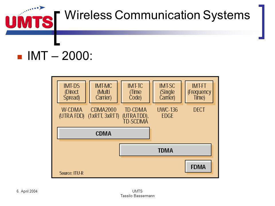 6. April 2004UMTS Tassilo Bassermann Wireless Communication Systems IMT – 2000: