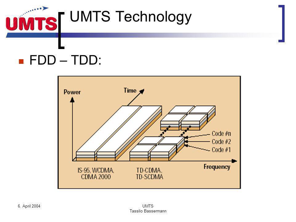 6. April 2004UMTS Tassilo Bassermann UMTS Technology FDD – TDD: