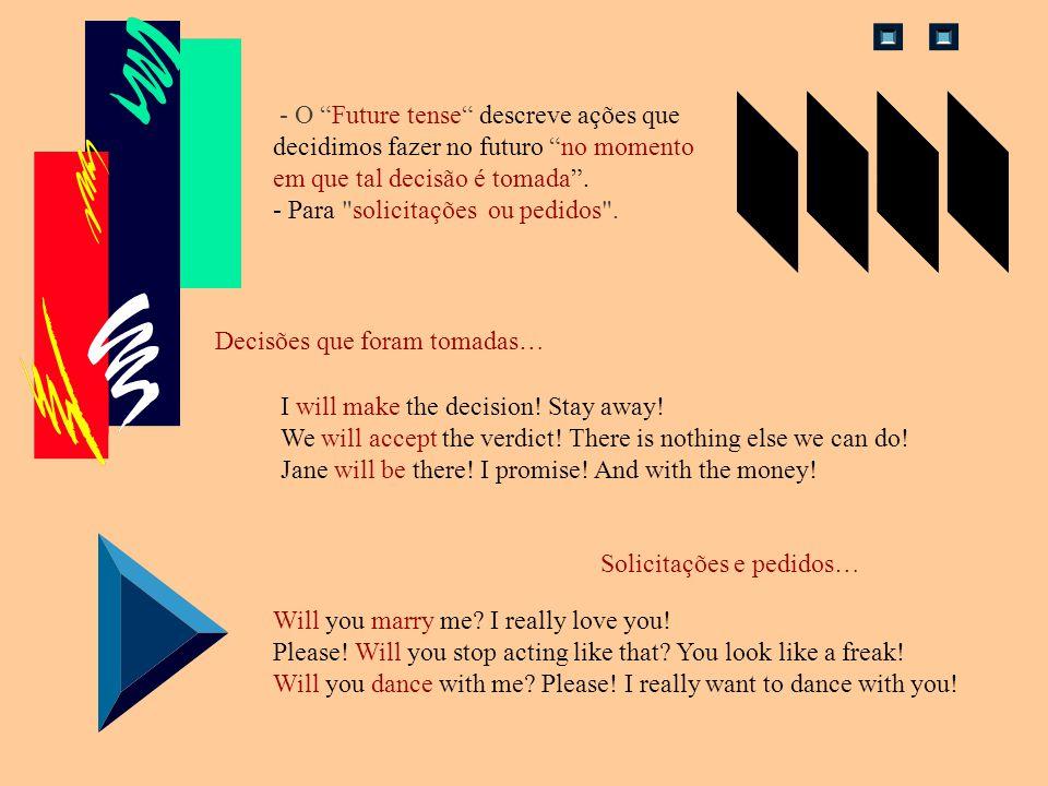 - O Future tense descreve ações que decidimos fazer no futuro no momento em que tal decisão é tomada .