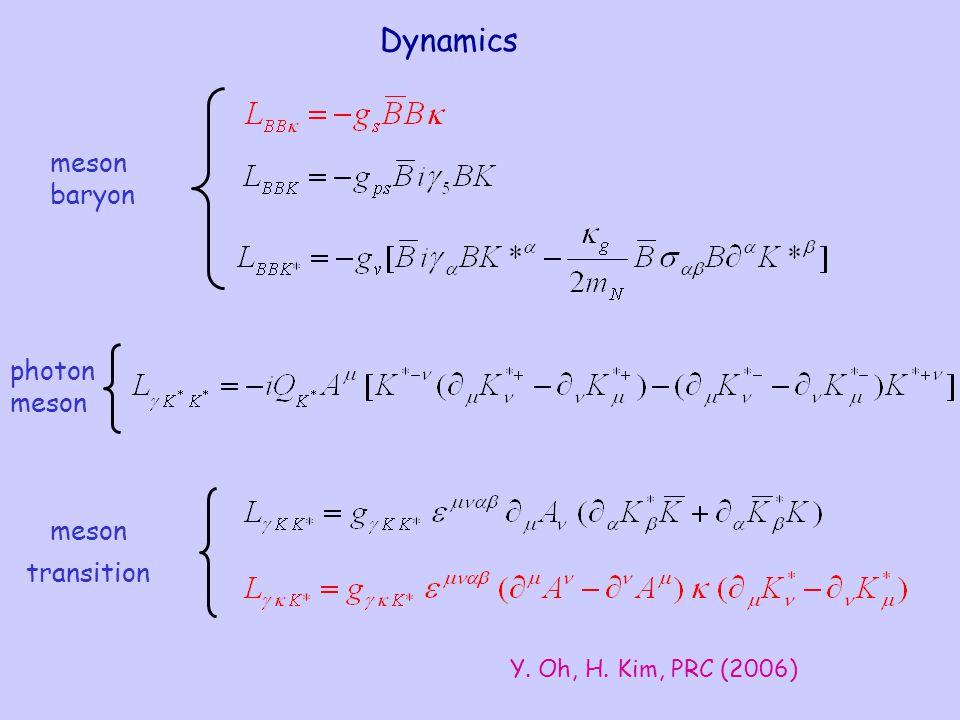 Dynamics transition meson baryon meson photon meson Y. Oh, H. Kim, PRC (2006)