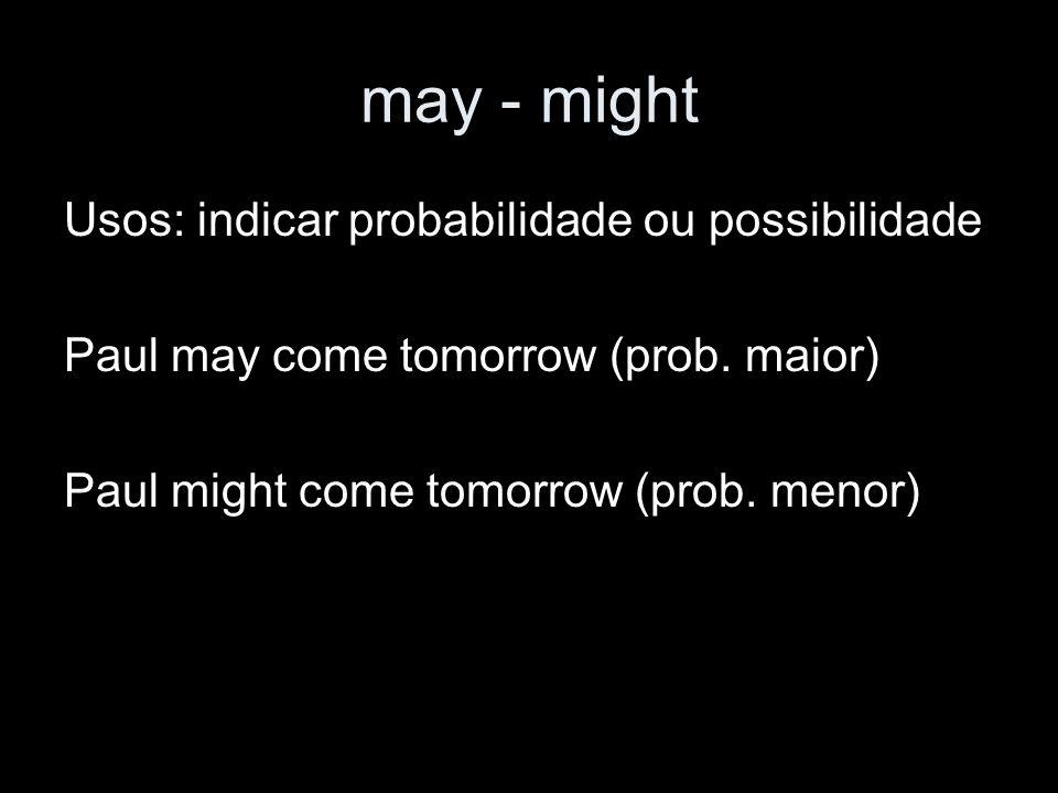 Must (have to, have got to) Usos: obrigação, dever.