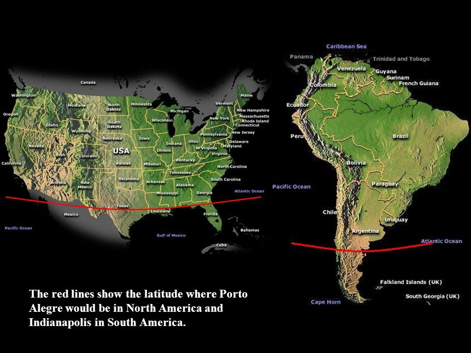 The red lines show the latitude where Porto Alegre would be in North America and Indianapolis in South America.