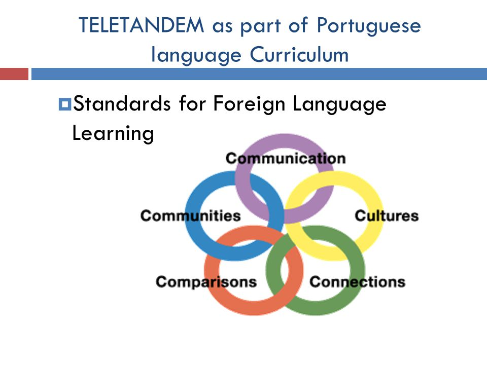 TELETANDEM as part of Portuguese language Curriculum  Standards for Foreign Language Learning