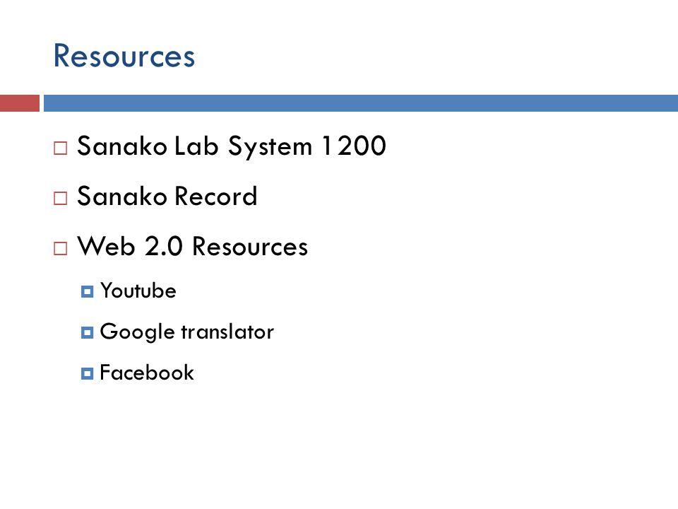 Resources  Sanako Lab System 1200  Sanako Record  Web 2.0 Resources  Youtube  Google translator  Facebook