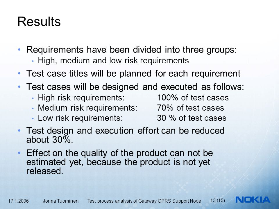 17.1.2006 Jorma Tuominen Test process analysis of Gateway GPRS Support Node 13 (15) Results Requirements have been divided into three groups: High, medium and low risk requirements Test case titles will be planned for each requirement Test cases will be designed and executed as follows: High risk requirements: 100% of test cases Medium risk requirements: 70% of test cases Low risk requirements: 30 % of test cases Test design and execution effort can be reduced about 30%.