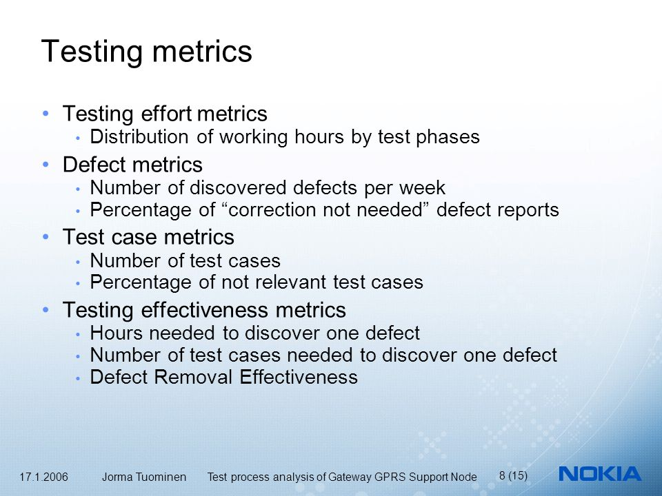 17.1.2006 Jorma Tuominen Test process analysis of Gateway GPRS Support Node 8 (15) Testing metrics Testing effort metrics Distribution of working hours by test phases Defect metrics Number of discovered defects per week Percentage of correction not needed defect reports Test case metrics Number of test cases Percentage of not relevant test cases Testing effectiveness metrics Hours needed to discover one defect Number of test cases needed to discover one defect Defect Removal Effectiveness