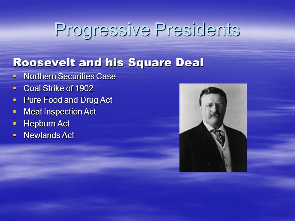Progressive Presidents Roosevelt and his Square Deal  Northern Securities Case  Coal Strike of 1902  Pure Food and Drug Act  Meat Inspection Act  Hepburn Act  Newlands Act