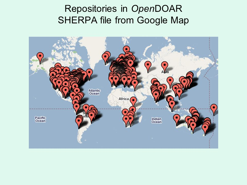 Repositories in OpenDOAR SHERPA file from Google Map