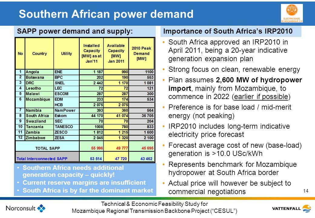 © Vattenfall AB Klicka här för att ändra format på underrubrik i bakgrunden 14 Technical & Economic Feasibility Study for Mozambique Regional Transmis