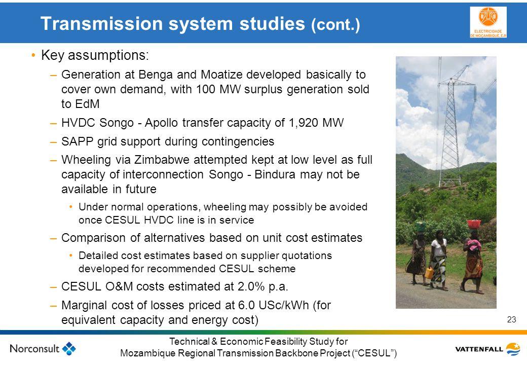 © Vattenfall AB Klicka här för att ändra format på underrubrik i bakgrunden 23 Technical & Economic Feasibility Study for Mozambique Regional Transmis
