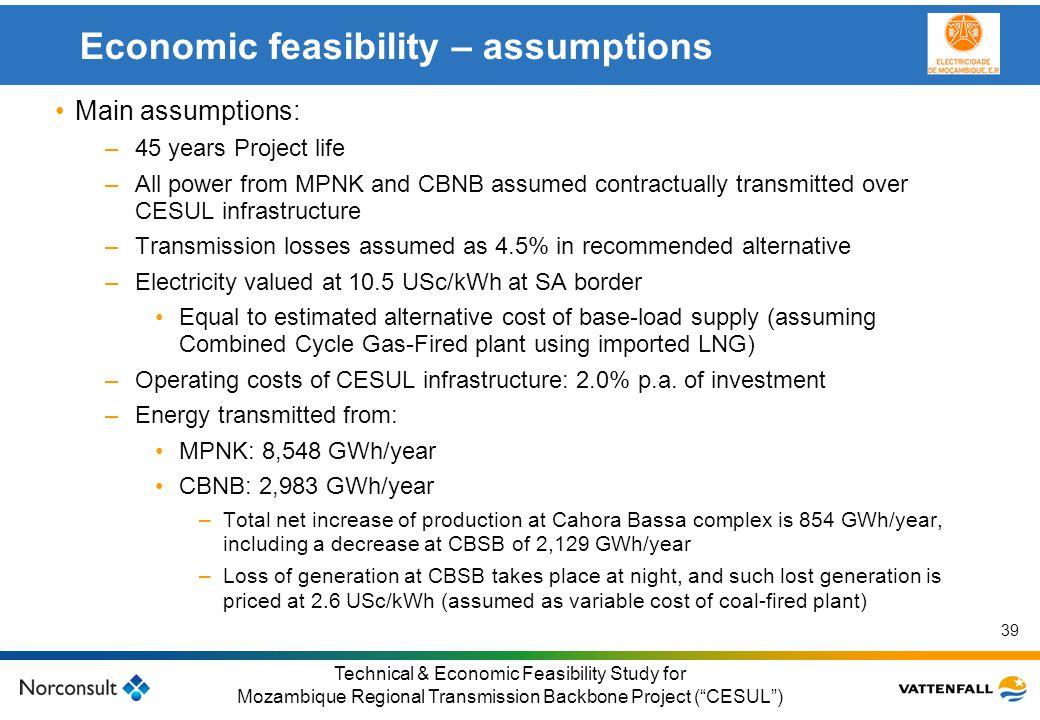 © Vattenfall AB Klicka här för att ändra format på underrubrik i bakgrunden 39 Technical & Economic Feasibility Study for Mozambique Regional Transmis