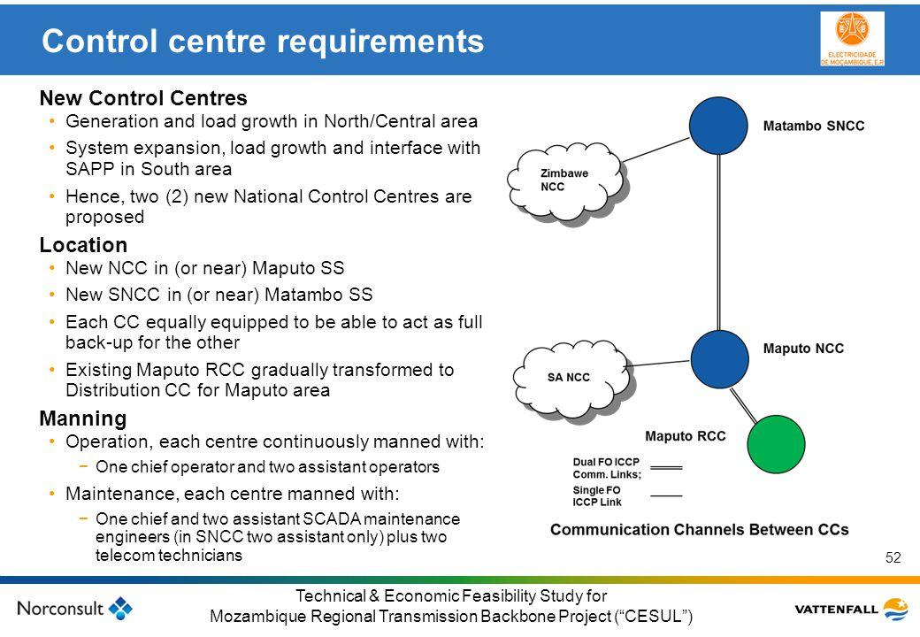 © Vattenfall AB Klicka här för att ändra format på underrubrik i bakgrunden 52 Technical & Economic Feasibility Study for Mozambique Regional Transmis