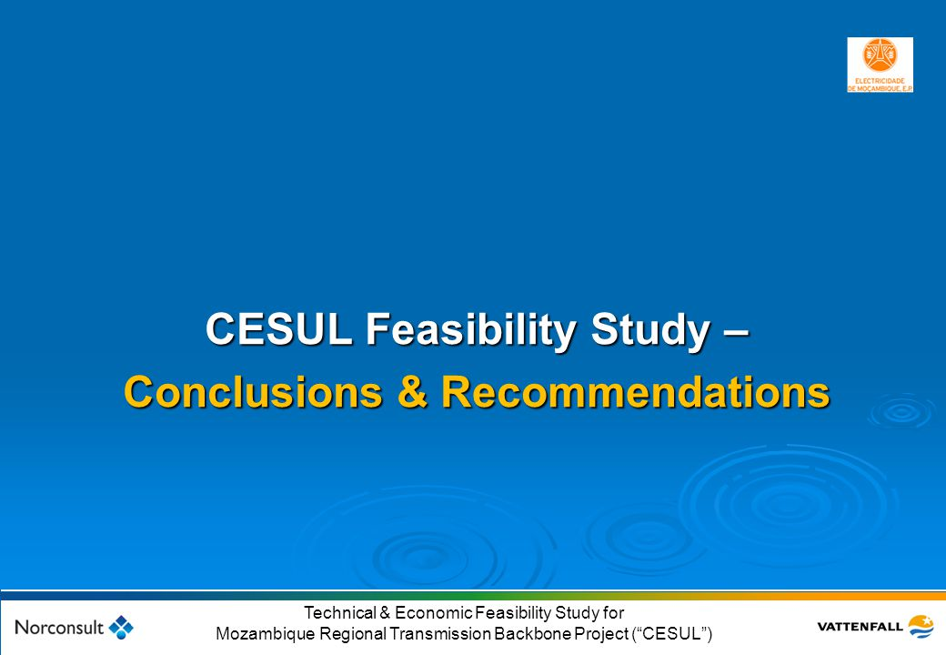 """© Vattenfall AB 53 Technical & Economic Feasibility Study for Mozambique Regional Transmission Backbone Project (""""CESUL"""") CESUL Feasibility Study – Co"""