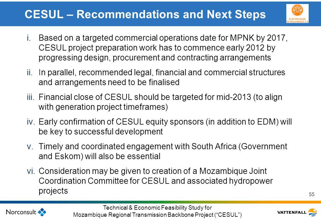 © Vattenfall AB Klicka här för att ändra format på underrubrik i bakgrunden 55 Technical & Economic Feasibility Study for Mozambique Regional Transmis