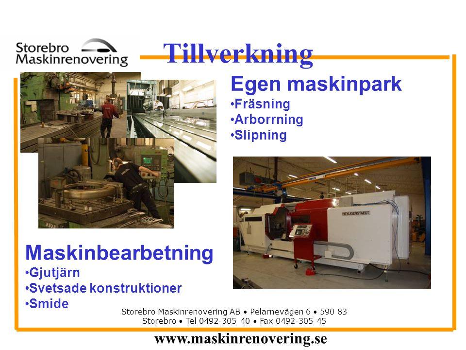 www.maskinrenovering.se Storebro Maskinrenovering AB Pelarnevägen 6 590 83 Storebro Tel 0492-305 40 Fax 0492-305 45 Tillverkning Egen maskinpark Fräsn