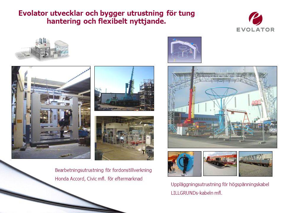 Evolator utvecklar och bygger utrustning för tung hantering och flexibelt nyttjande. Uppläggningsutrustning för högspänningskabel LILLGRUNDs-kabeln mf