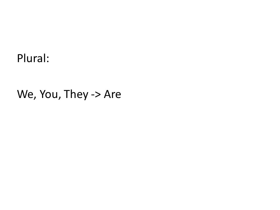 Plural: We, You, They -> Are