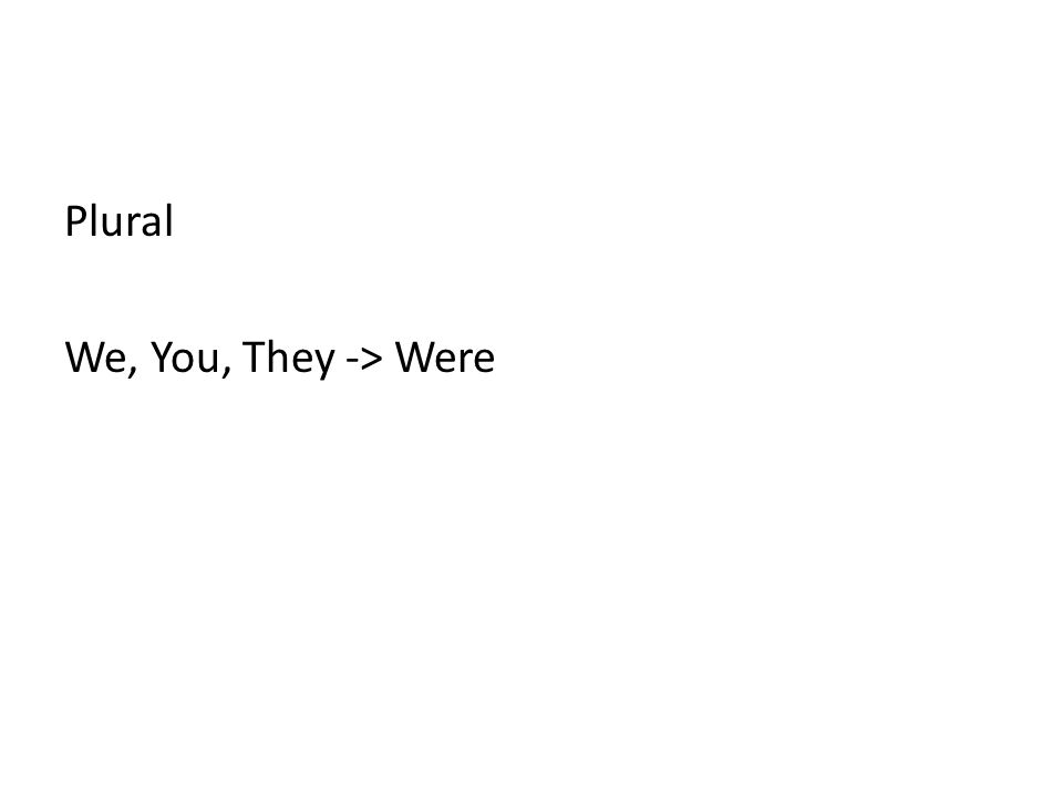 Plural We, You, They -> Were