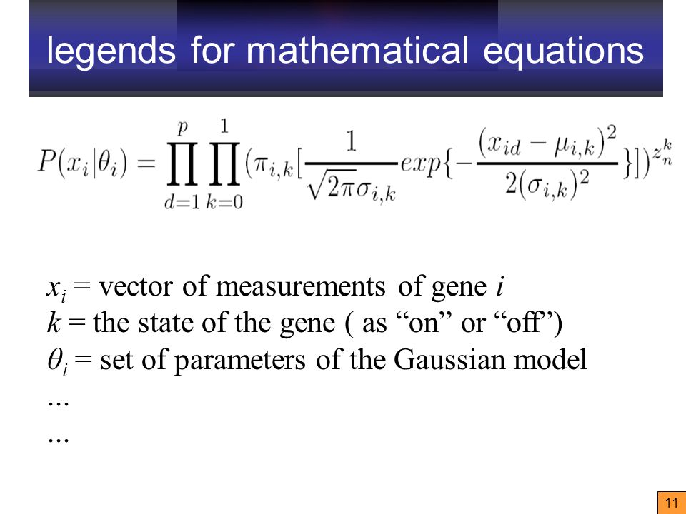 11 x i = vector of measurements of gene i k = the state of the gene ( as on or off ) θ i = set of parameters of the Gaussian model...
