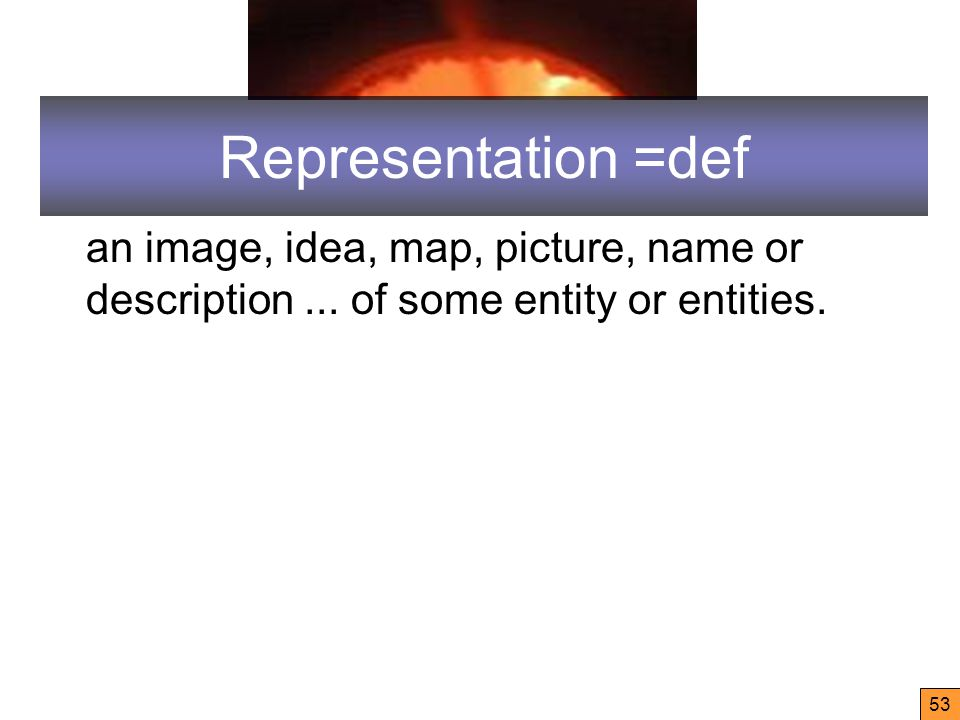 53 Representation =def an image, idea, map, picture, name or description...