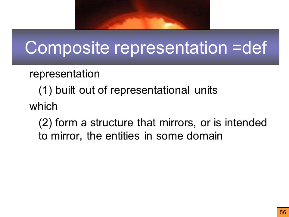 56 Composite representation =def representation (1) built out of representational units which (2) form a structure that mirrors, or is intended to mirror, the entities in some domain