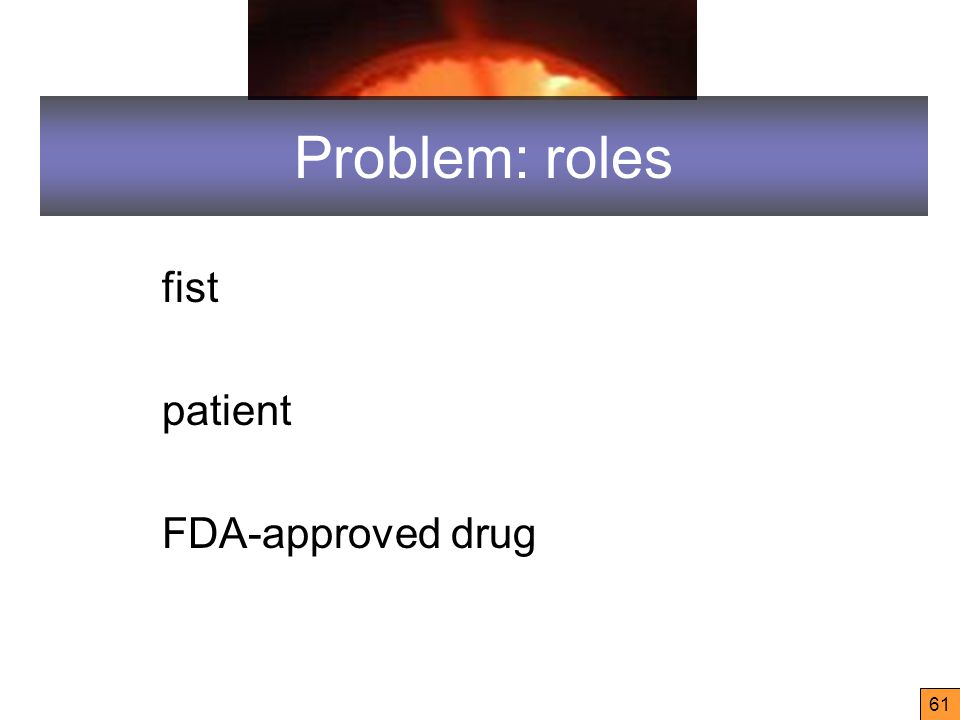 61 Problem: roles fist patient FDA-approved drug