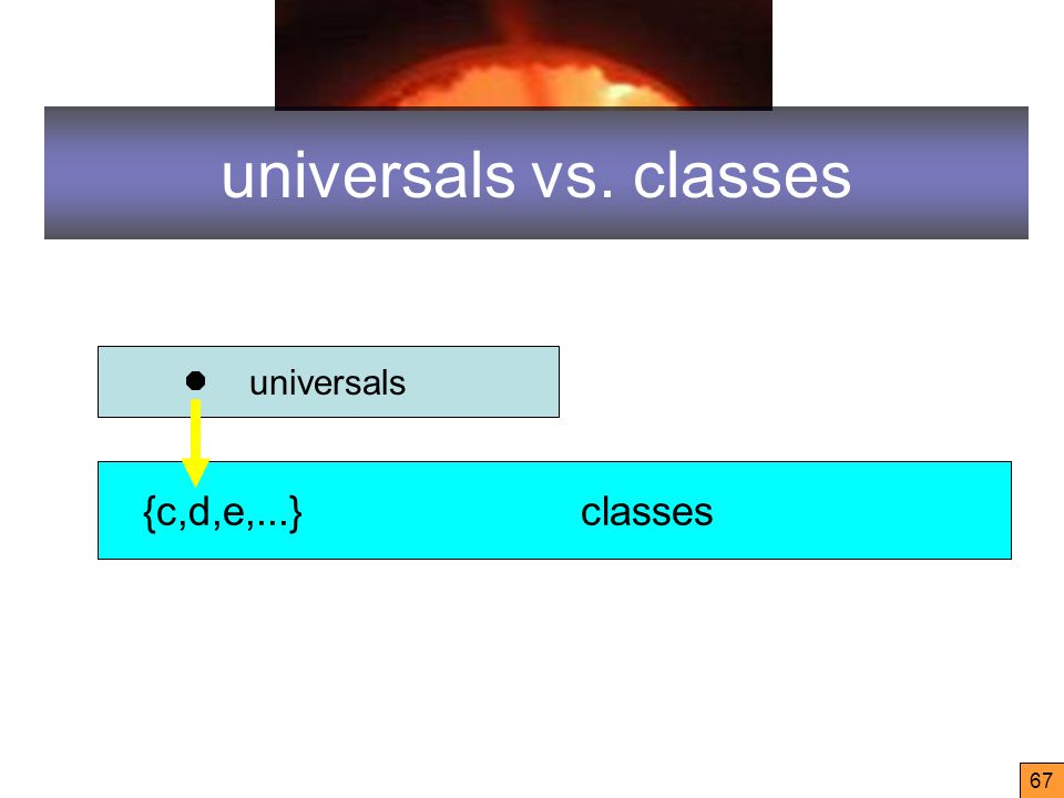 67 universals vs. classes universals {c,d,e,...} classes
