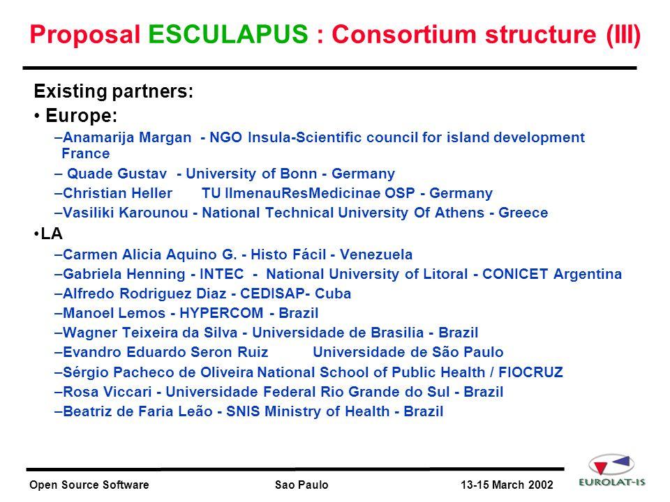 Open Source Software Sao Paulo 13-15 March 2002 Proposal ESCULAPUS : Consortium structure (III) Existing partners: Europe: –Anamarija Margan - NGO Ins