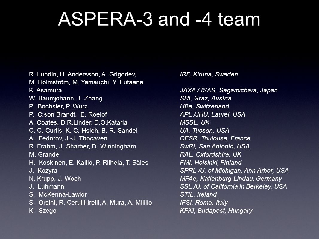 ASPERA-3 and -4 team R. Lundin, H. Andersson, A.