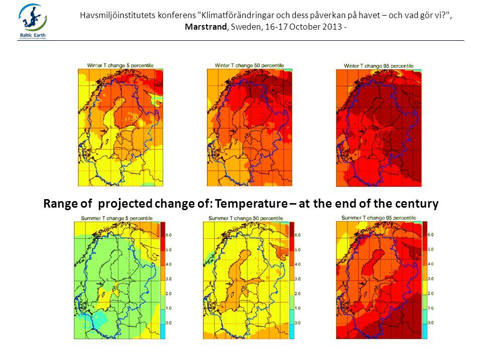 Havsmiljöinstitutets konferens Klimatförändringar och dess påverkan på havet – och vad gör vi? , Marstrand, Sweden, 16-17 October 2013 - Range of projected change of: Temperature – at the end of the century