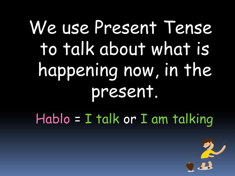 Practice by writing or saying the sentences with the present progressive.