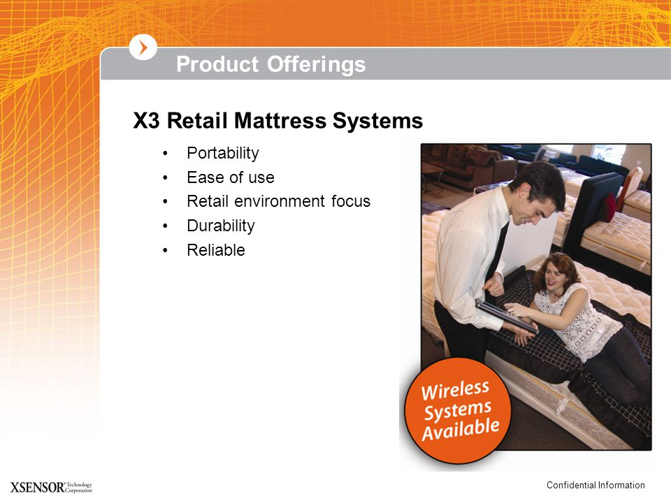 Confidential Information Portability Ease of use Retail environment focus Durability Reliable X3 Retail Mattress Systems Product Offerings