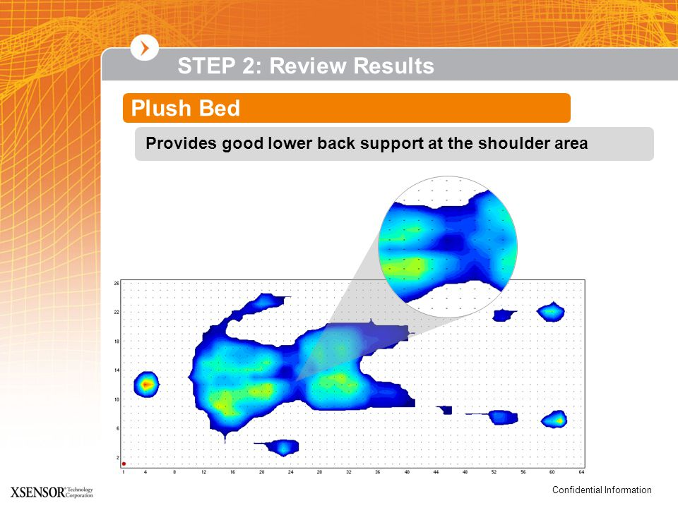 Confidential Information STEP 2: Review Results Plush Bed Provides good lower back support at the shoulder area