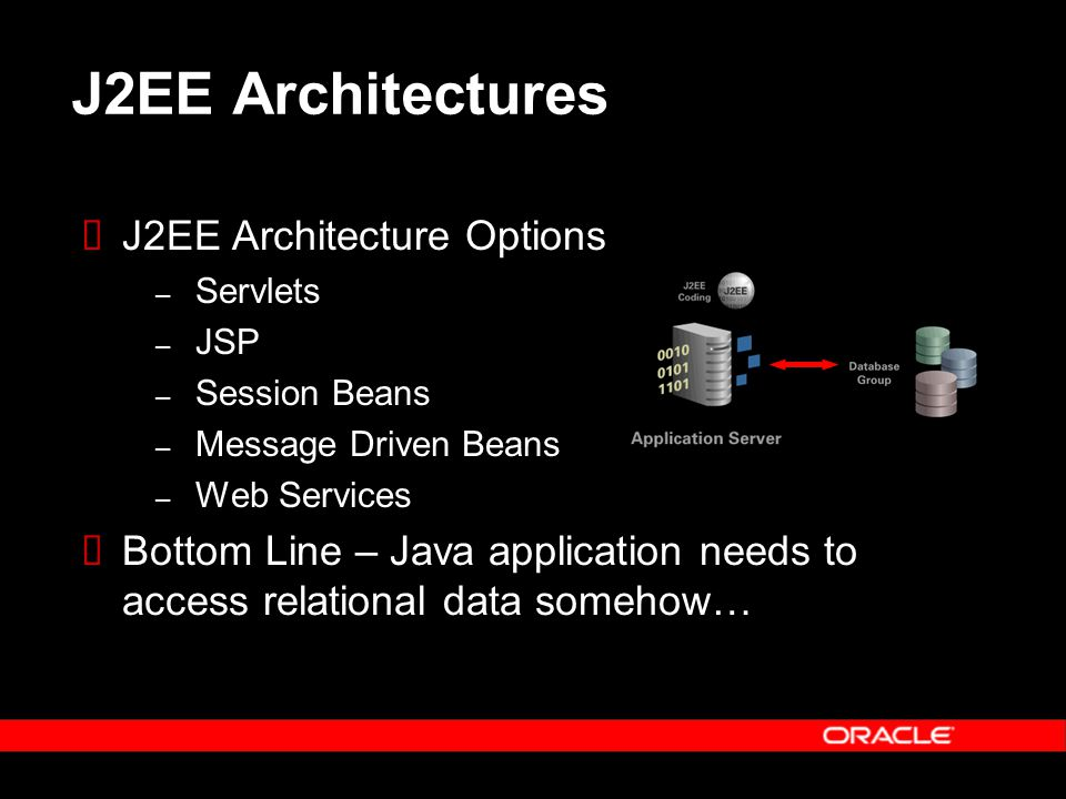 J2EE Architectures  J2EE Architecture Options – Servlets – JSP – Session Beans – Message Driven Beans – Web Services  Bottom Line – Java application needs to access relational data somehow…