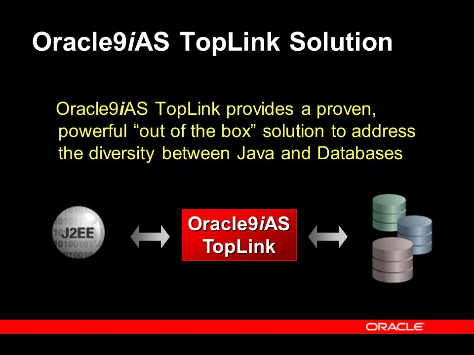 Oracle9iAS TopLink Solution Oracle9iAS TopLink provides a proven, powerful out of the box solution to address the diversity between Java and Databases Oracle9iAS TopLink