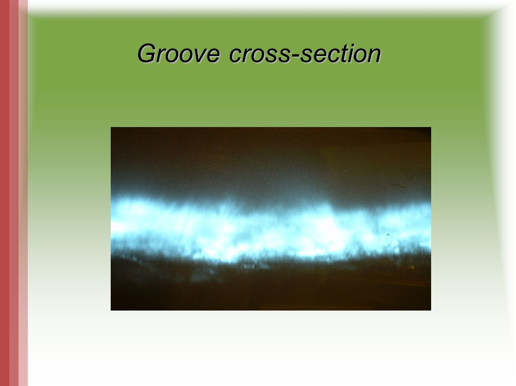 The cross-section of the groove measured in pixels, 0,4 um