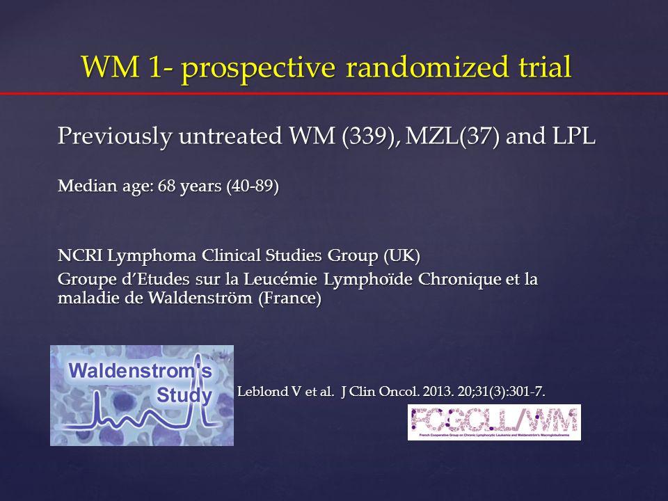 One randomized trial: WM1 Final results ASH 2011 WM 1- prospective randomized trial Previously untreated WM (339), MZL(37) and LPL Median age: 68 year