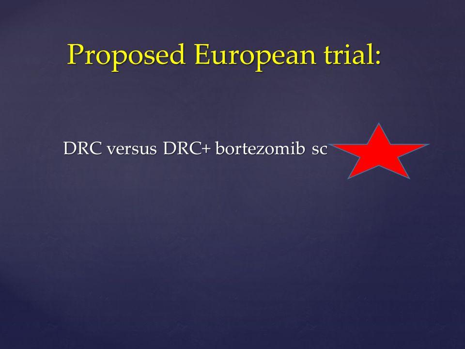 Proposed European trial: Proposed European trial: DRC versus DRC+ bortezomib sc DRC versus DRC+ bortezomib sc