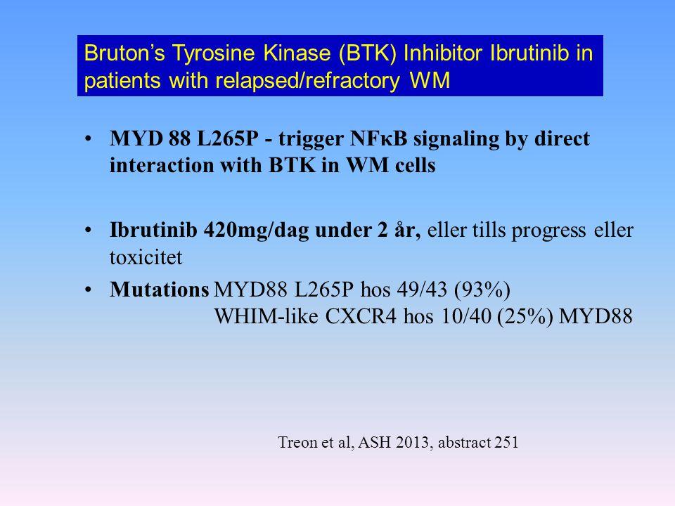 MYD 88 L265P - trigger NFκB signaling by direct interaction with BTK in WM cells Ibrutinib 420mg/dag under 2 år, eller tills progress eller toxicitet