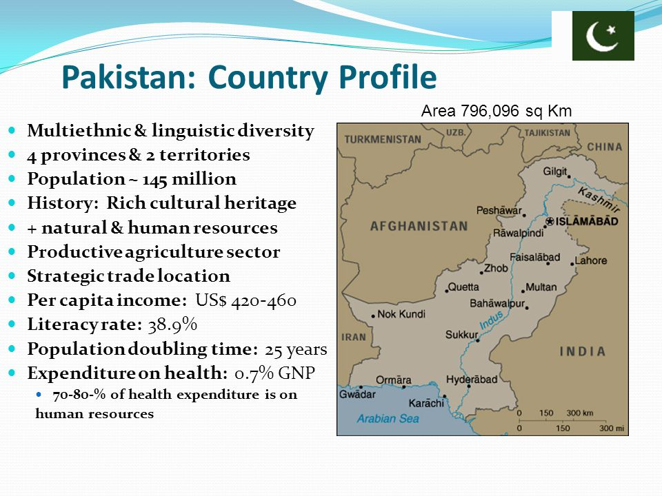 Pakistan: Country Profile Multiethnic & linguistic diversity 4 provinces & 2 territories Population ~ 145 million History: Rich cultural heritage + na