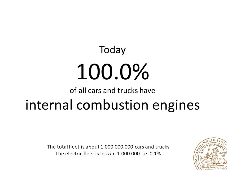 Today 100.0% of all cars and trucks have internal combustion engines The total fleet is about 1.000.000.000 cars and trucks The electric fleet is less an 1.000.000 i.e.