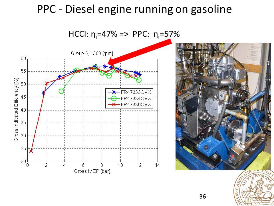PPC - Diesel engine running on gasoline HCCI: η i =47% => PPC: η i =57% 36
