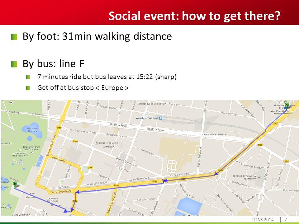 Cliquez pour modifier le style du titre RTNS 2014 | 7| 7 Social event: how to get there.