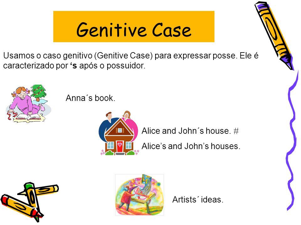 Genitive Case Usamos o caso genitivo (Genitive Case) para expressar posse.