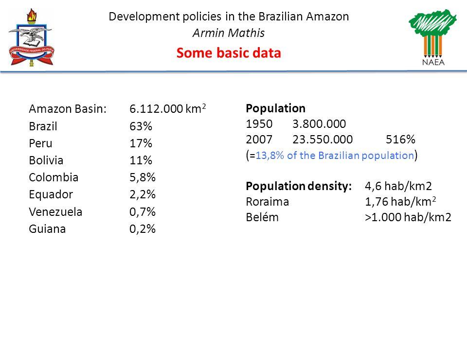 Development policies in the Brazilian Amazon Armin Mathis Some basic data Amazon Basin: 6.112.000 km 2 Brazil63% Peru17% Bolivia11% Colombia5,8% Equador2,2% Venezuela0,7% Guiana0,2% Population 19503.800.000 200723.550.000516% ( =13,8% of the Brazilian population ) Population density: 4,6 hab/km2 Roraima1,76 hab/km 2 Belém>1.000 hab/km2