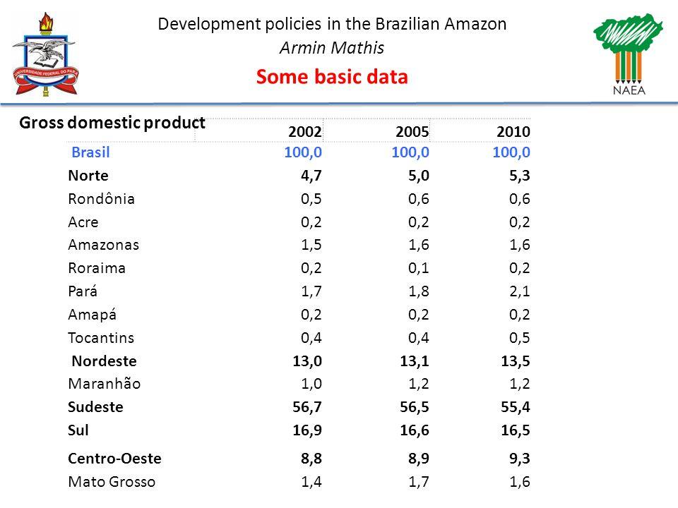 Development policies in the Brazilian Amazon Armin Mathis Some basic data 200220052010 Brasil100,0 Norte4,75,05,3 Rondônia0,50,6 Acre0,2 Amazonas1,51,6 Roraima0,20,10,2 Pará1,71,82,1 Amapá0,2 Tocantins0,4 0,5 Nordeste13,013,113,5 Maranhão1,01,2 Sudeste56,756,555,4 Sul16,916,616,5 Centro-Oeste8,88,99,3 Mato Grosso1,41,71,6 Gross domestic product