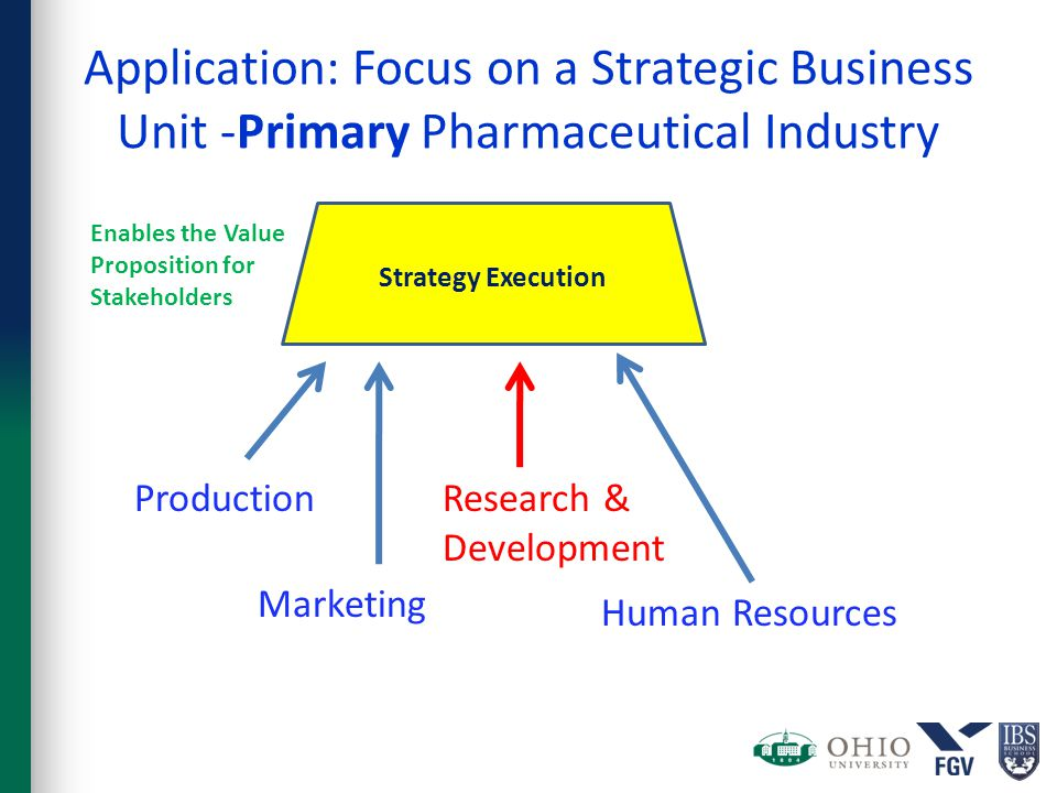 Strategy Execution Enables the Value Proposition for Stakeholders Application: Focus on a Strategic Business Unit -Primary Pharmaceutical Industry Production Marketing Research & Development Human Resources