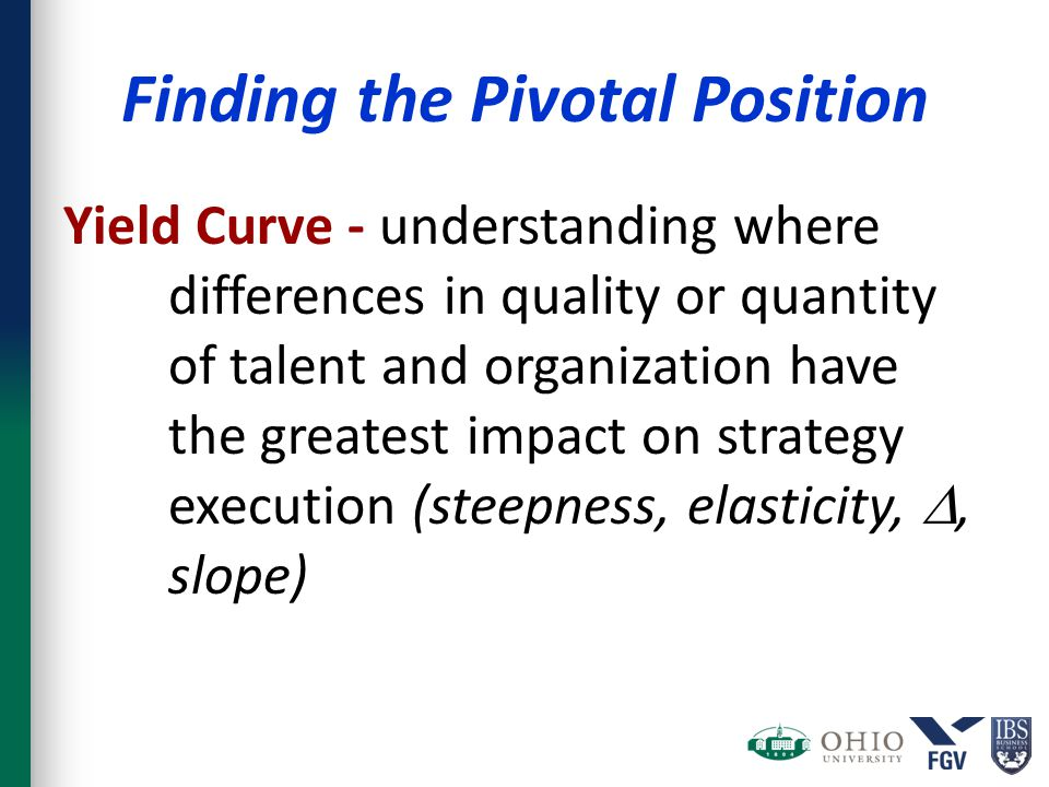 Finding the Pivotal Position Yield Curve - understanding where differences in quality or quantity of talent and organization have the greatest impact on strategy execution (steepness, elasticity, , slope)