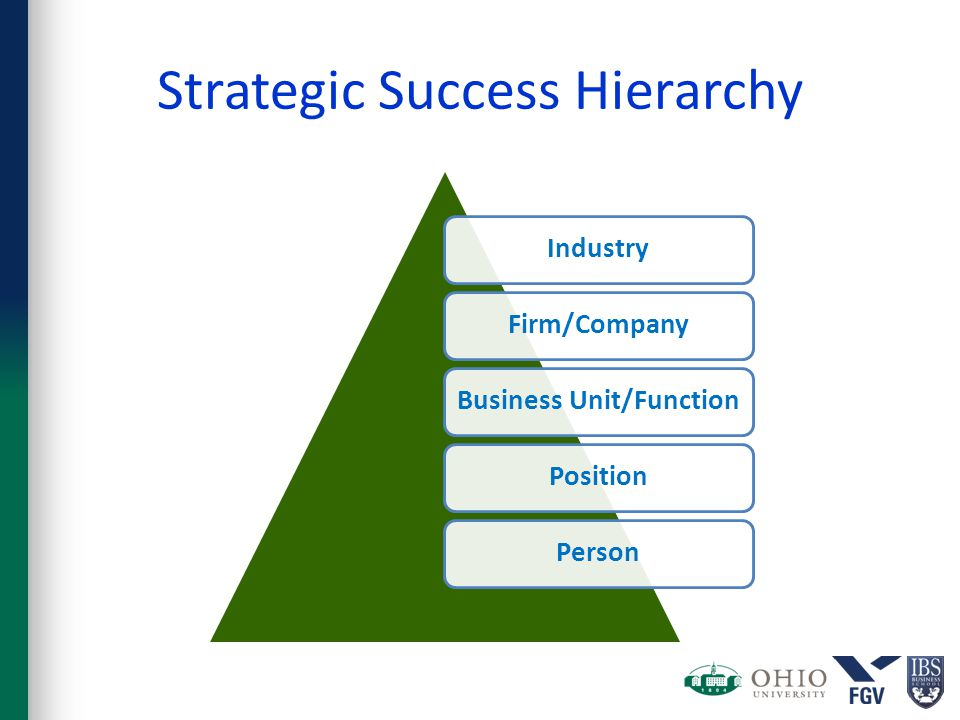 Strategic Success Hierarchy IndustryFirm/CompanyBusiness Unit/FunctionPositionPerson