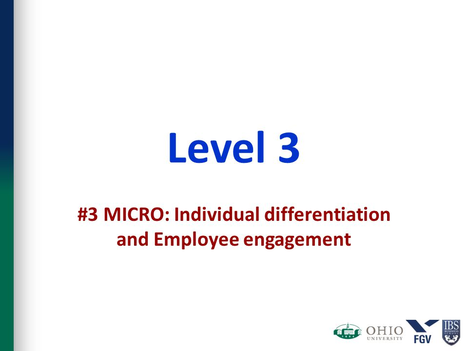Level 3 #3 MICRO: Individual differentiation and Employee engagement